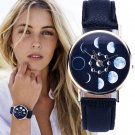 Fashion Lunar Eclipse Print Women Leather Casual Watch Analog Quartz Wristwatch