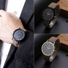 Modern Men Stainless Steel Leather Band Strap Analog Quartz Classic Wrist Watch