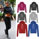 Women Crop Hoodie Long Sleeve Jumper Hooded Pullover Coat Casual Sweatshirt Top