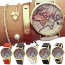 Men Women Stylish World Map Faux Leather Strap Quartz Analog Casual Wrist Watch