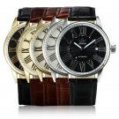 SEWOR Mens Automatic Mechanical White Gold Date Leather Analog Wrist Watch