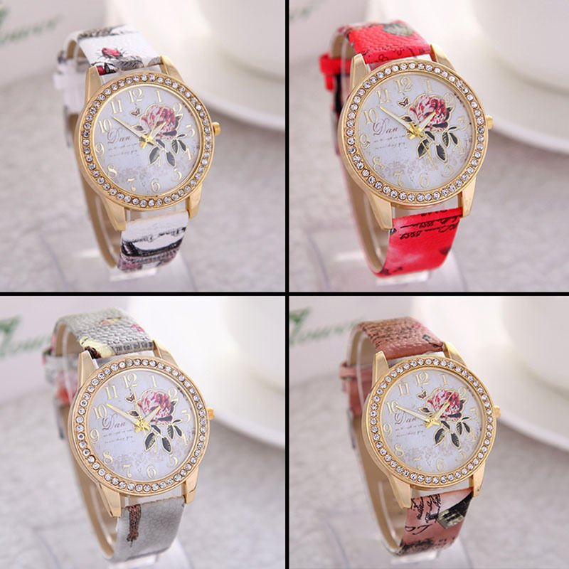 Flower Patterns Geneva Leather Band Analog Quartz Fashion Wrist Watches Women