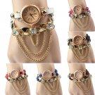 Women's Fashion NEW Bracelet Rhinestone Rivet Leather Strap Quartz Dress Watches