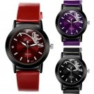 New fashion Leather Band Stainless Steel Sport Analog Quartz Women Wrist Watch
