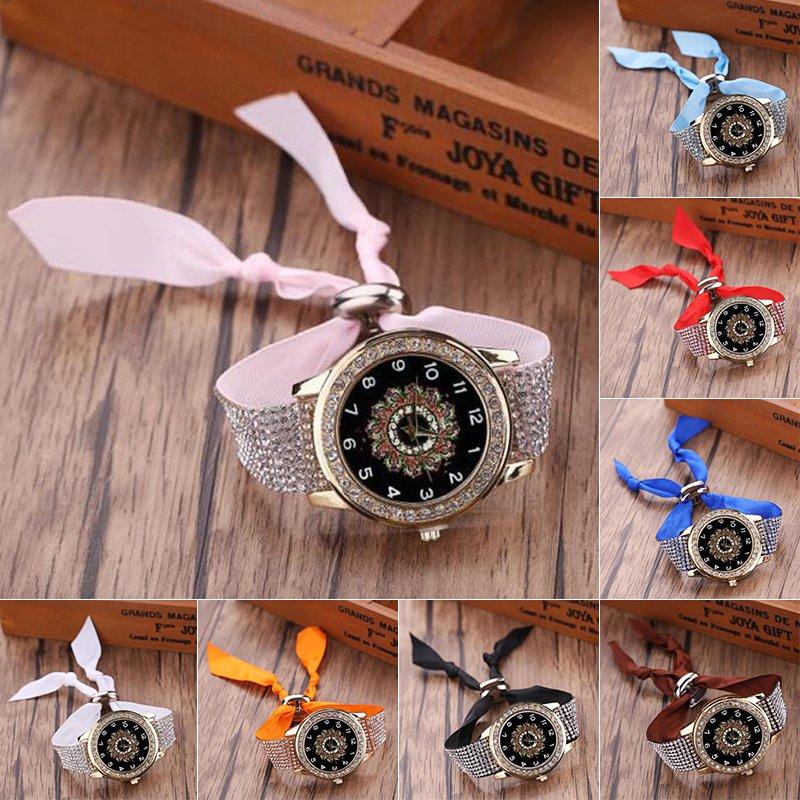 Fashion Women's Watch Braided Band Crystal Quartz Analog Bracelet Wrist Watches