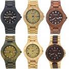 Men's Wooden Watch Round Dial Date Quartz Analog Wrist Watch