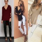 Fashion Womens Hollow Long Sleeve Shirt Casual Blouse Loose Cotton Tops T Shirt