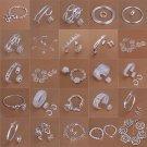 Fashion Women Lady Silver Plated Bracelet Ring Earrings Jewelry Set