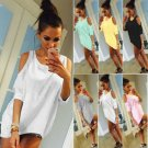 Ladies Cold Shoulder Loose T Shirt Tops Womens 3/4 Sleeve Casual Mini Dress