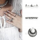 New Retro 3Pcs/ Set Silver Boho Fashion Midi Finger Knuckle Rings Gift