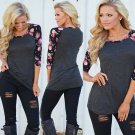 Women Casual Loose Long Sleeve Lace Tops Blouse Shirt Floral Printed Tee T-Shirt