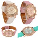 Women Marvellous Round Crystal Dial Quartz Analog Leather Bracelet Wrist Watch