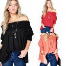 Women Off Shoulder Short Sleeve T Shirt Casual Loose Top Blouse Beach Shirt