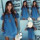 Vintage Fashion Women Shoulder Off Jeans Ruffles T shirt Casual Denim Mini Dress