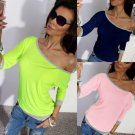 Fashion Womens Long Sleeve Cotton Shirt Casual Pullover Blouse Loose Top T Shirt