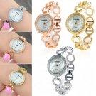 Fashion Geneva Stainless Steel Ladies Women Crystal Analog Quartz Wrist Watch