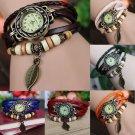 Women New Design Retro Leather Bracelet leaf Decoration Quartz Wrist Watches