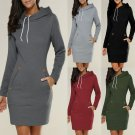 Womens Ladies Hooded Sweatshirt Long Sleeve Sweater Hoodies Jumper Mini Dress