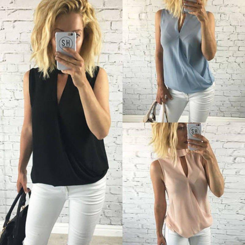 Fashion Summer Women Shirt Sleeveless Chiffon Blouse Loose Casual Tank Tops Vest