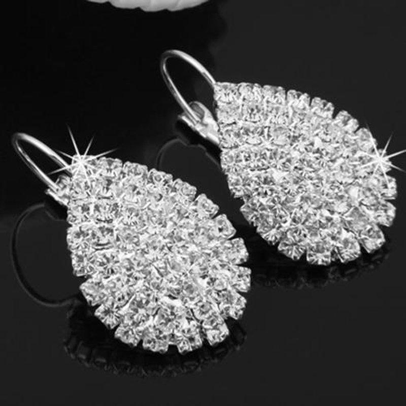 2 Pcs New Fashion Women Lady Elegant Crystal Rhinestone Ear Stud Earrings