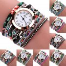 Fashion Women's Wrap Braided Rhinestone Bracelet Analog Quartz Wrist Watches