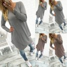 Autumn Fashion Women Long Sleeve Casual Loose Irregular Blouse Long Tops NEW