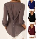 Plus Size Women Chiffon V-neck Top Long Sleeve Shirt Casual Blouse Loose T-shirt