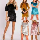 Women Bodycon Velvet Short Sleeve Cocktail Party Formal Mini Dress S M L XL