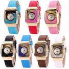 Womens Quicksand Round Square Dial Fashion Dress Watches Faux Leather Wristwatch