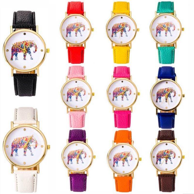 Fashion Women's Watch Elephant Stainless steel Leather Quartz Ladies Wrist Watch