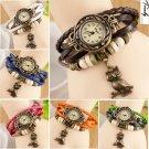 New Women Design Retro Leather Bracelet Owl Decoration Quartz Wrist Watch