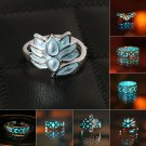 Fashion Silver Glow in the Dark Punk Band Ring Women Men Xmas Gift Jewelry Chic