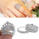 Vogue Women White Sapphire Gem Lady Silver Crown Wedding Band Ring Set Size 6