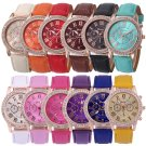 Fashion Women Roman Numerals Crystal Leather Analog Steel Quartz Wrist Watch