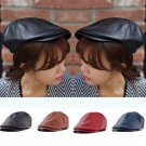 Hot Men's Leather Flat Ivy Cap Women Newsboy Gatsby Bonnet Cabbie Golf Beret Hat