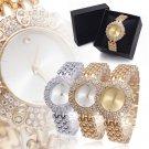 Lady Women Stainless Steel Band Crystal Wrist Watches Quartz Watch Bracelet