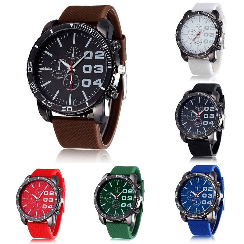 New Fashion Men's Big Dial Silicone Rubber Band Sport Analog Quartz Wrist Watch