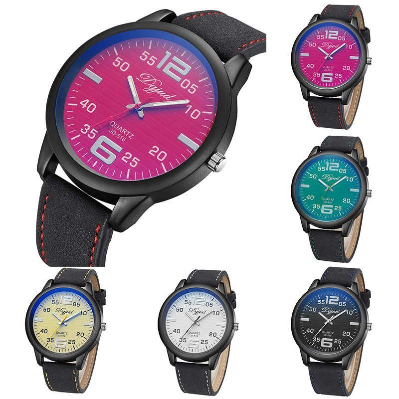 Fashion Women's Leather Stainless Steel Date Sports Quartz Analog Wrist Watches