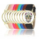 New Womens Watches Mens Punk Skull Analog Watch Leather Band Quartz Wrist Watch
