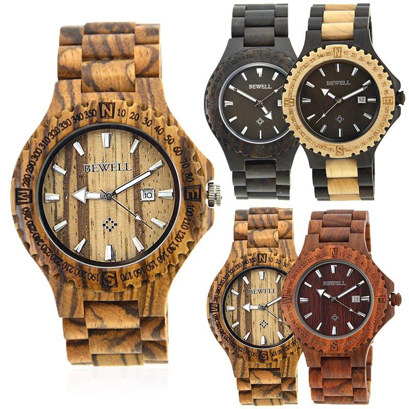 New Fashion Men's Wooden Bangle Analog  Date Quartz Analog Wrist Watch Gift