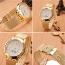 Women Ladies Crystal Gold Stainless Steel Mesh Band Wrist Watch Dress Watch