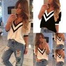 Summer Casual Women V-Neck Loose T-Shirt Chiffon Short Sleeve Tank Tops Blouse