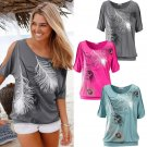 Fashion Womens Summer Loose Printed Short Sleeve Blouse Ladies Casual Tops Shirt