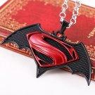 MEN Stainless Steel Batman vs Superman New Film Logo Pendent w/ Box Necklace