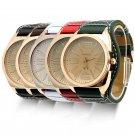 Luxury Gold Stainless Steel Quartz Fashion Leather Women Lady Wrist Watch Unisex