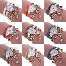 Fashion Women's Watch Bracelet Crystal Leather Analog Quartz Dress Wrist Watches