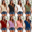 NEW Women Short Sleeve T-shirt Casual Tee Shirts Blouse Tassel Solid Color Tops