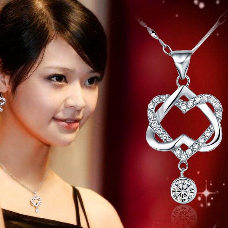 Charm Women Heart Crystal Rhinestone Silver Chain Pendant Necklace Jewelry