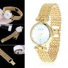 Hot Golden Women's Lady Bracelet Stainless Steel Crystal Dial Quartz Wrist Watch