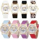 Cute Women Watch Glasses Cat Leather Band Analog Quartz Dress Wristwatch